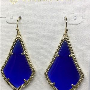 KS Alex cobalt blue/ gold color border earrings